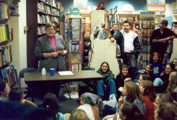 Tammy at Brookline Bookstore, Author Tour 2001