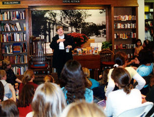 Tammy speaking in Concord, MA, author tour 2001