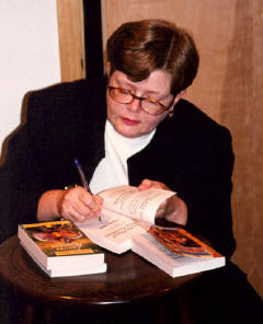 Tammy signing books in Concord, MA, Author Tour 2001